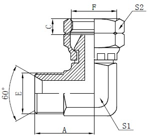 BSP-Winkelstück-Anschlusszeichnung