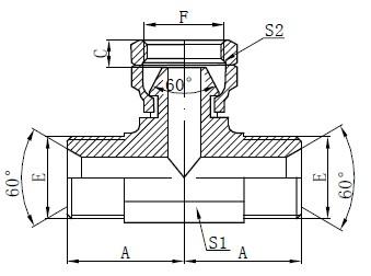 BSP Hydraulisches T-Stück Zeichnung