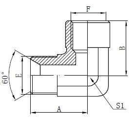 Ellenbogen-BSP-Adapterbeschlagzeichnung