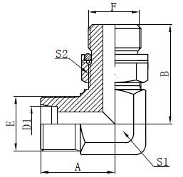 Ellbogen-Hydraulikadapter-Zeichnung