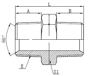 Hydraulische männliche NPT-Adapterzeichnung