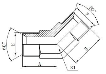 Industrielle Rohrverschraubung Zeichnung